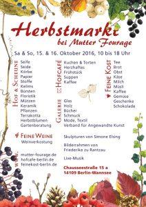 Hofcafé Herbstmarkt 2016 Plakat