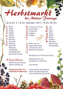 Hofcafé bei Mutter Fourage Herbstmarkt- 2017 Plakat